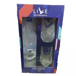 מארז וודקה גריי גוס 1 ליטר עם 2 כוסות זכוכית