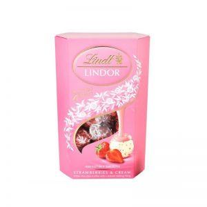 לינדור כדורי שוקולד לבן שוויצרי עם תות LINDOR